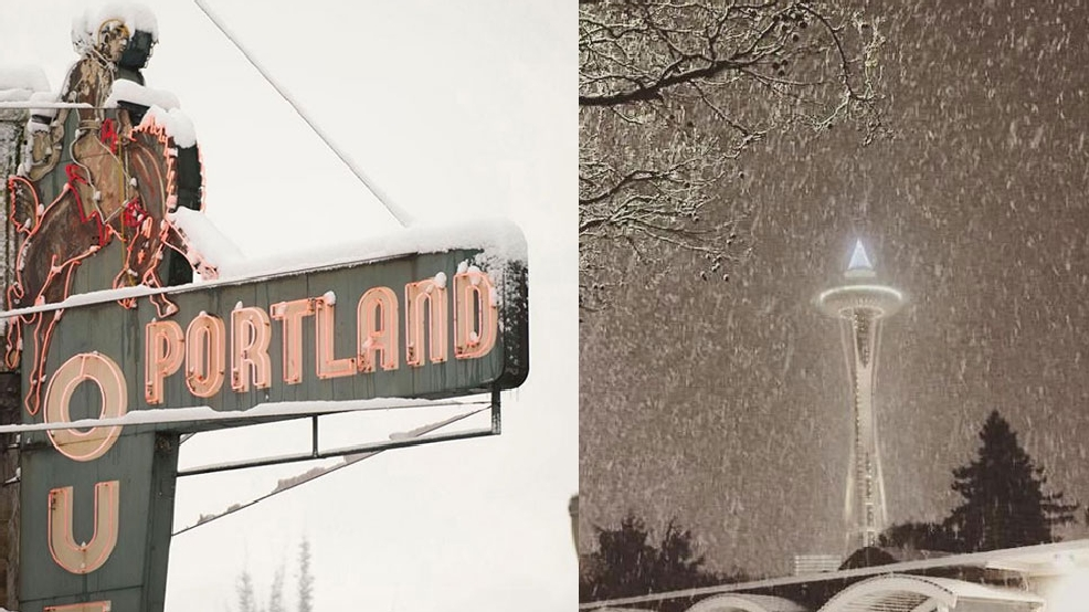 Draped in winter white, who wore it best? Seattle? Or Portland?