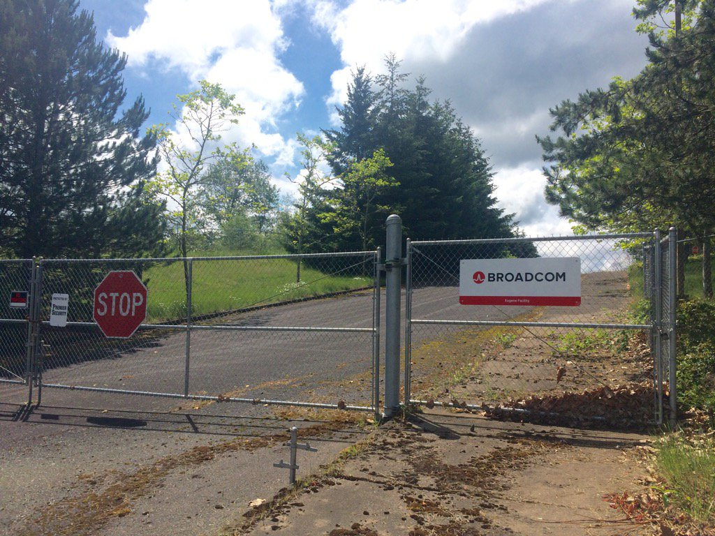 "Under the company name ""Broadcom,"" Avago planned to manufacture transmission chips at the former Hynix facility in West Eugene. SBG photo"