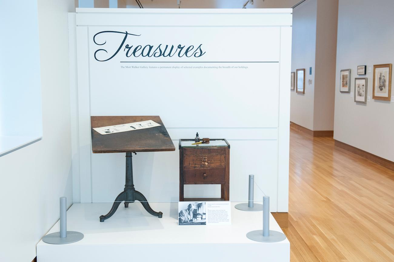 "The treasures gallery, including the desk of Chester Gould / Gould created ""Dick Tracy,"" which he wrote and drew from 1931 to 1977. / Image courtesy of the Billy Ireland Cartoon Library & Museum // Published: 7.1.19"