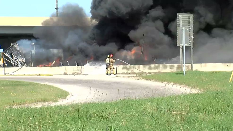 Big rigs crash, leaving fiery mess on Tulsa highways | KTUL