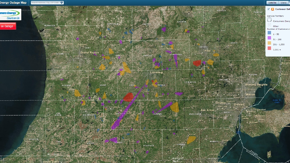 Power Outage Map Grand Rapids.Wind Causing Major Power Outages Across W Michigan Wwmt