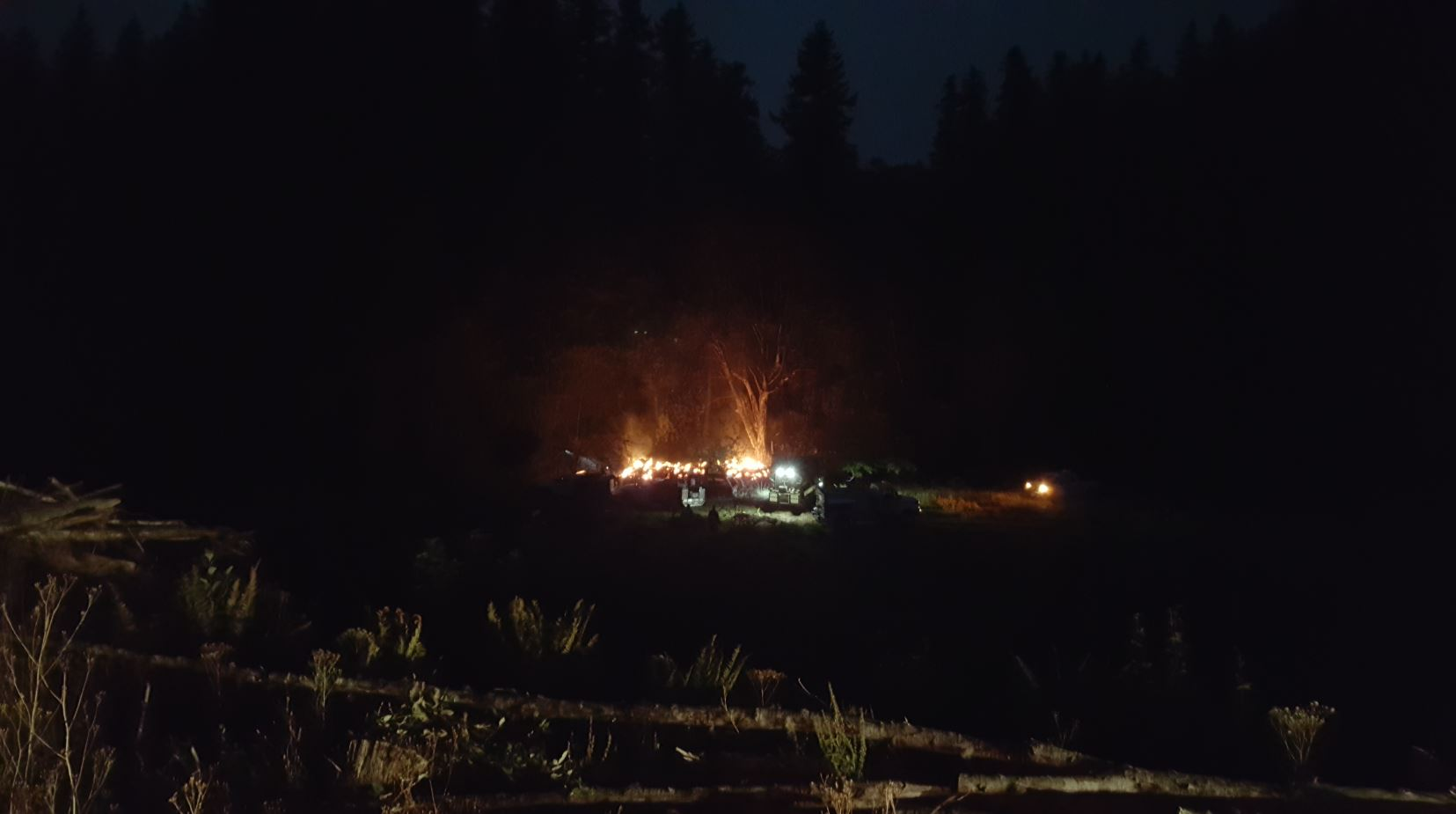 Three men were arrested in Douglas County following an investigation into a structure fire in an unoccupied building in a remote area of the North Fork Smith River on Sep. 2, 2017. (Oregon State Police photo)