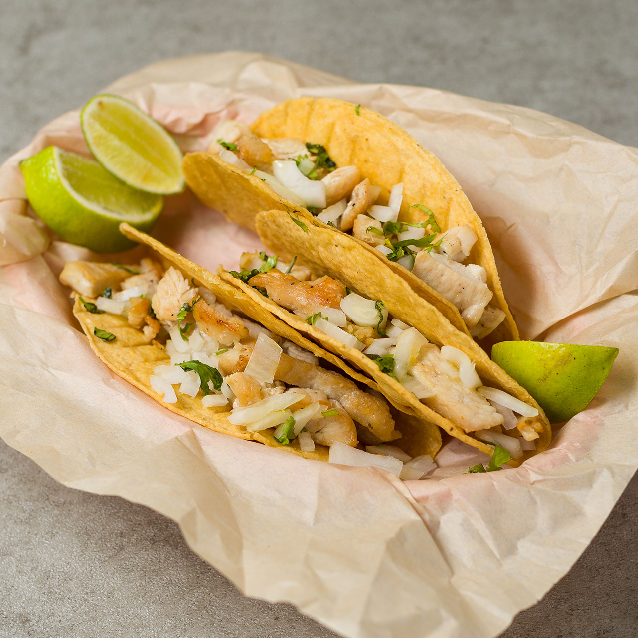 3.	Chicken Tacos from Super Tacos & Bakery:{ }Pollo guisado. Corn tortillas, onions, cilantro and limes.{ }(Image: Courtesy Grubhub)