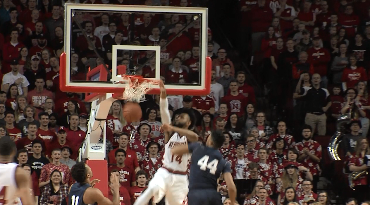 Nebraska's Isaac Copeland dunks during the Huskers victory over Penn State on Senior Day.{&amp;nbsp;}<p></p>