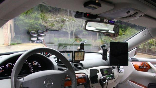 The cockpit of the car was equipped with a slew of countermeasures to prevent getting caught speeding, including laser jammers; radar detectors and a switch to kill the rear lights -- making the car less noticeable at night.