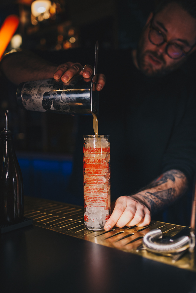 Josh Miller crafting some cocktail magic  / Image: Catherine Viox // Published: 1.25.19