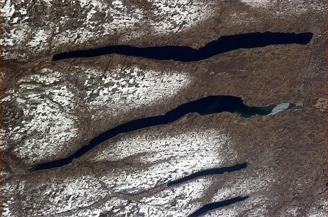 Finger Lakes, New York. Glaciers clawed them into the earth as they retreated during the last Ice Age. (Photo & Caption: Chris Hadfield/NASA)