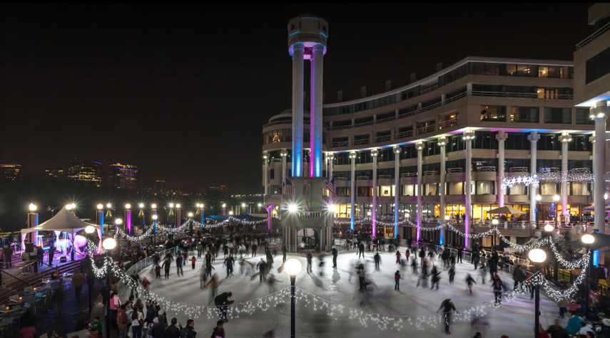 Did you know this is not only the largest ice skating rink in D.C., but it is even bigger than New York City's Rockefeller Center?! (Image: Courtesy Washington Harbour)