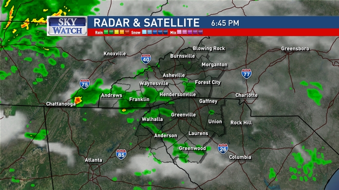 A potent storm system will roll through the Tennessee Valley tomorrow into Wednesday, producing scattered to numerous showers and thundershowers after sunset. (Image: WLOS staff)
