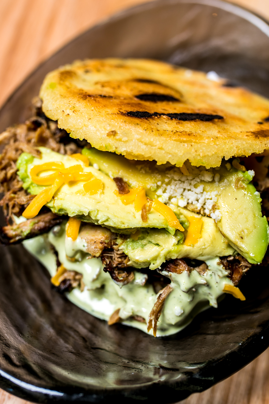 Rumbera Arepa: Caribbean-style shredded pork, avocado, and cheddar cheese / Image: Amy Elisabeth Spasoff // Published: 8.1.18