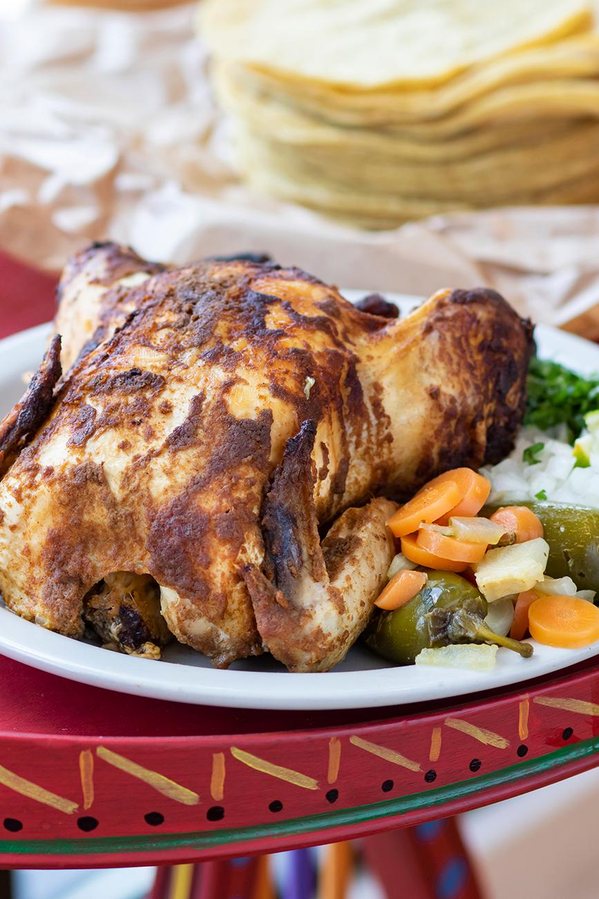 <p>Whole Rotisserie Pollo Combo Platter with tortillas / Image: Allison McAdams // Published: 8.20.19</p>