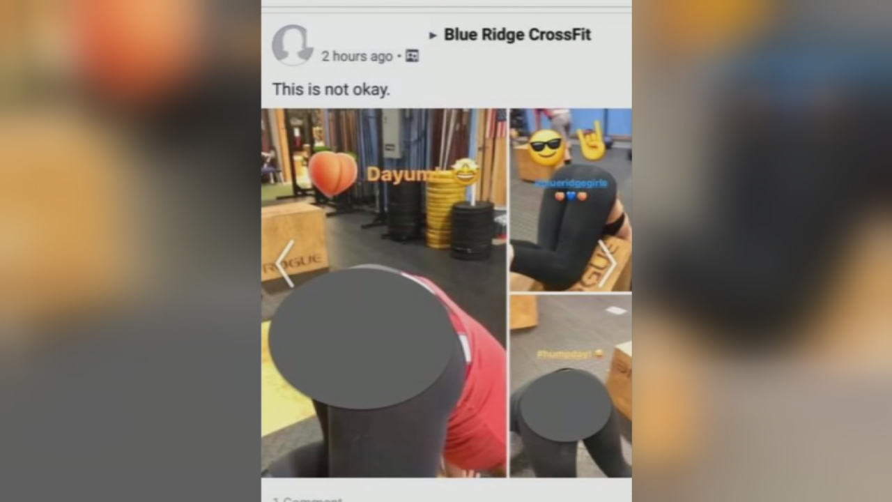 Screen captures of an Instagram video that was posted to Blue Ridge Cross Fit's account. The screen captures were later posted on Facebook. (Video credit: Tom Tomlo)