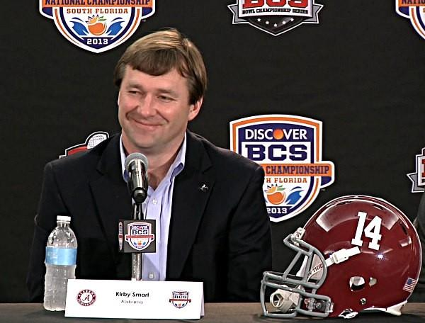 Alabama defensive coordinator Kirby Smart during BCS National Championship news conference on Friday, January 4, 2013.