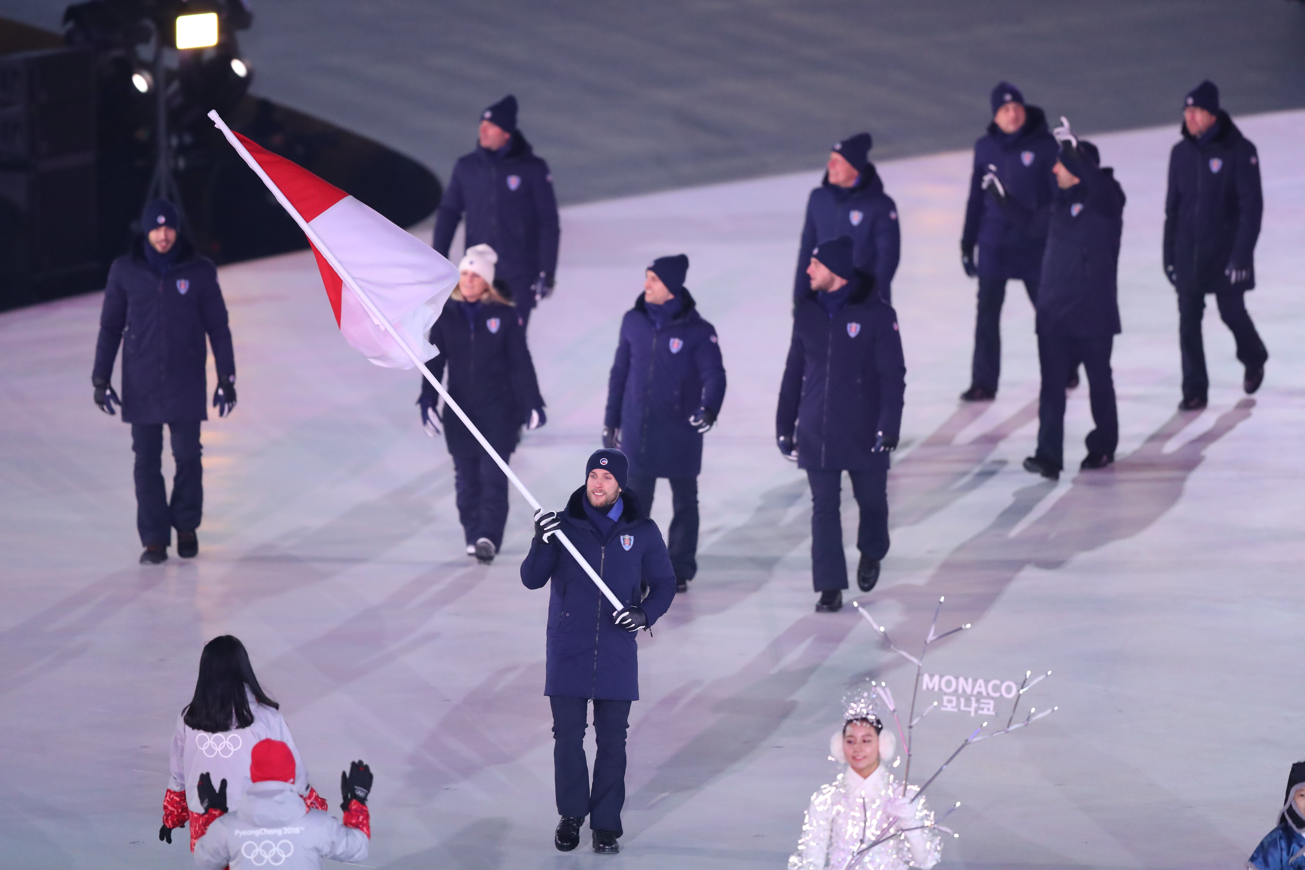 2018 Winter Olympic Games - Opening Ceremony  MONACO,   PYEONGCHANG-GUN, SOUTH KOREA - FEBRUARY 09: Flag bearer Rudy Rinaldi of Monaco leads the team out during the Opening Ceremony of the PyeongChang 2018 Winter Olympic Games at PyeongChang Olympic Stadium on February 9, 2018 in Pyeongchang-gun, South Korea. XXIII. OLYMPIC WINTER GAMES PYEONGCHANG 2018: OPENING CEREMONY,  PyeongChang, Korea, Winter Olympics; PyeongChang Olympic Stadium, on 9. February 2018, fee liable image, copyright © ATP / OSADA Yohei  Featuring: Rudy Rinaldi of Monaco Where: Pyeongchang, Gangwon Province, South Korea When: 09 Feb 2018 Credit: ATP/WENN.com  **Not available for publication in Germany or France. No Contact Music.**