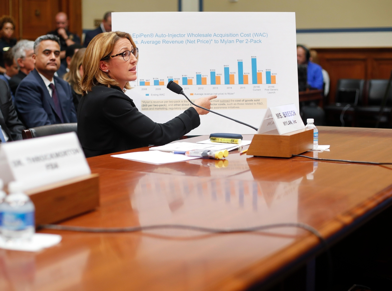 Mylan CEO Heather Bresch points to her chart to help her answer questions while testifying on Capitol Hill in Washington, Wednesday, Sept. 21, 2016, before the House Oversight Committee hearing on EpiPen price increases. Bresch defended the cost for life-saving EpiPens, signaling the company has no plans to lower prices despite a public outcry and questions from skeptical lawmakers. (AP Photo/Pablo Martinez Monsivais)