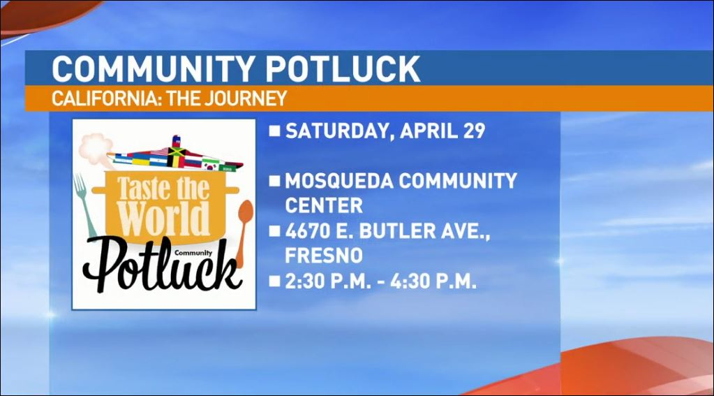 The Community Potluck will be held Saturday, April 29 at the Mosqueda Community Center