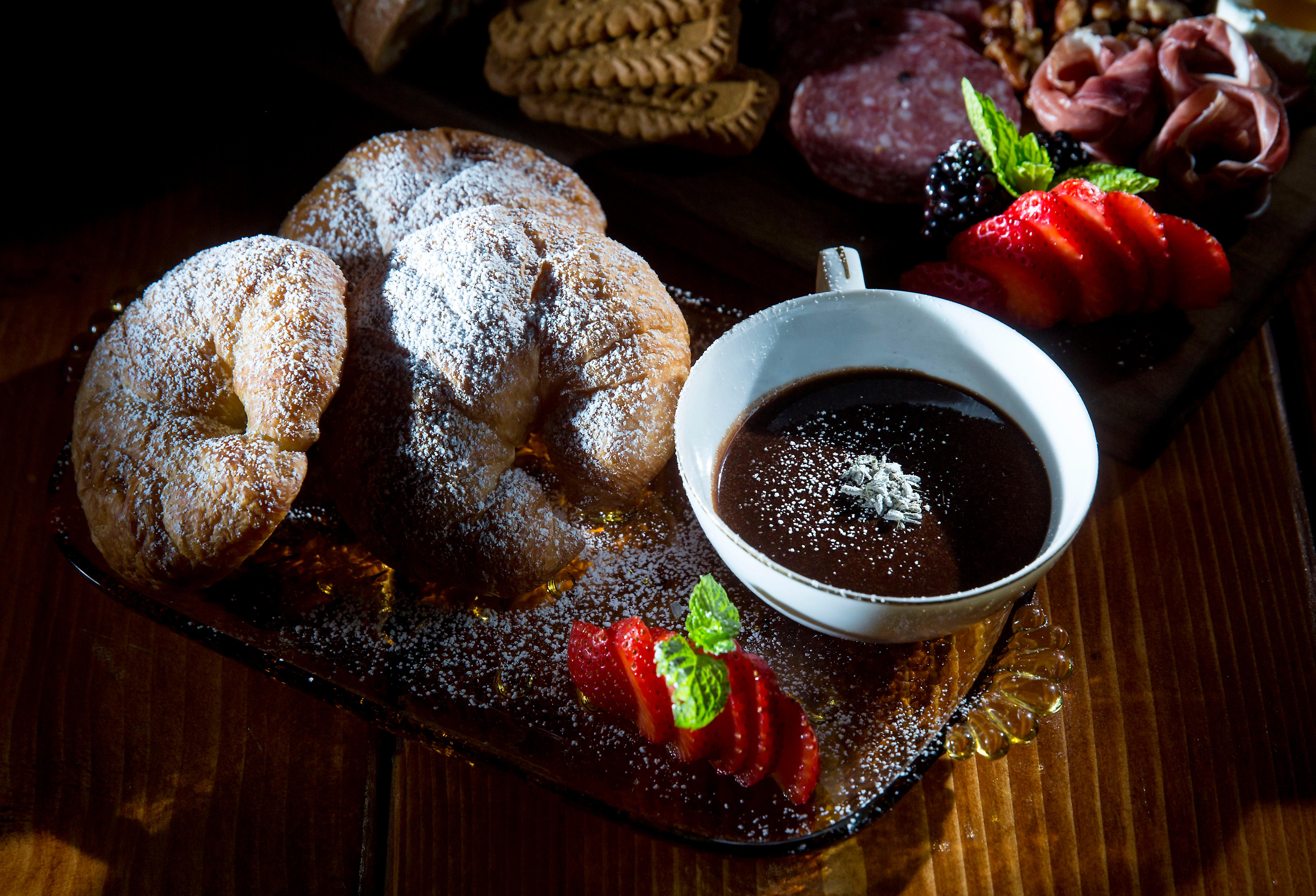 """Cocoa & Lavender "" - Baked croissants, mocha creme anglaise with fresh ground lavender sugar. (Sy Bean / Seattle Refined)"