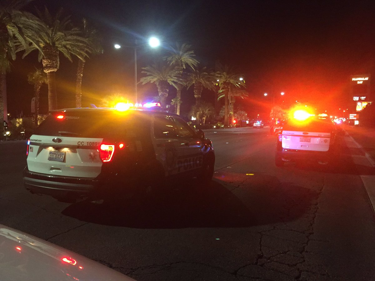 Several DHS vehicles arriving in the area of Mandalay Bay (Craig Fiegener | KSNV)