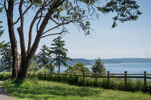 Panoramic views of the Puget Sound, Olympic Mountains, and Mount Rainier await at this calm beach oasis. (Image: Washington State Parks)