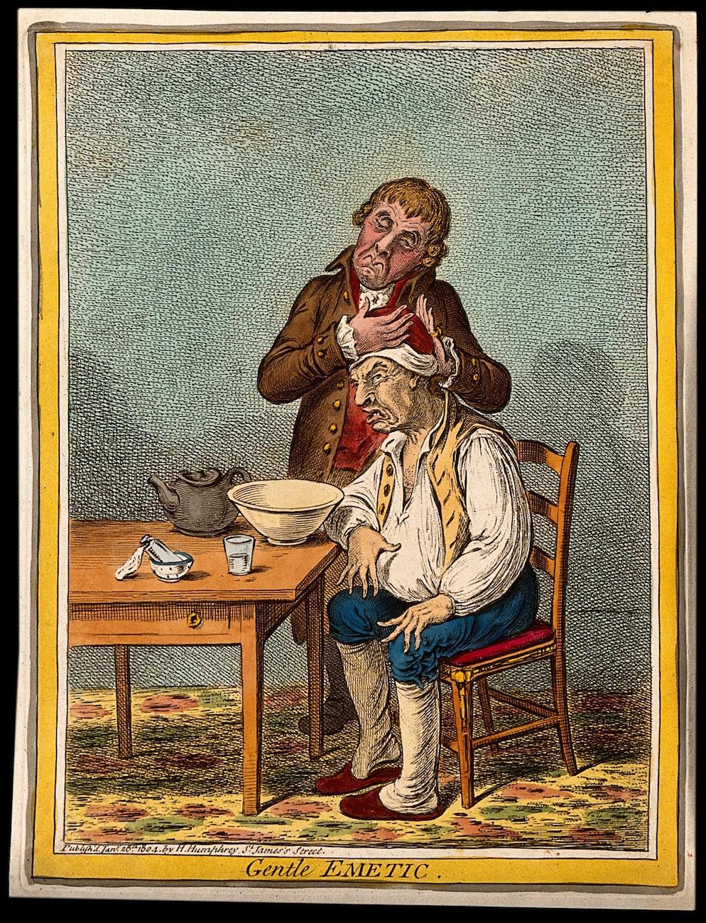 "James Gillray's cartoon, ""The Gentle Emetic"" is from 1804. It's part of  the exhibit 'Drawing Blood-Comics and Medicine.' / Image courtesy of the Billy Ireland Cartoon Library & Museum // Published: 7.1.19"