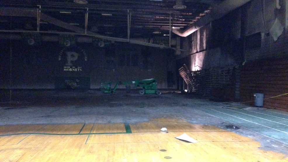 A look at the fire damage in Preble High School's gym. Local media was allowed inside the school for a tour Aug. 14, 2014. (WLUK/Andrew LaCombe)