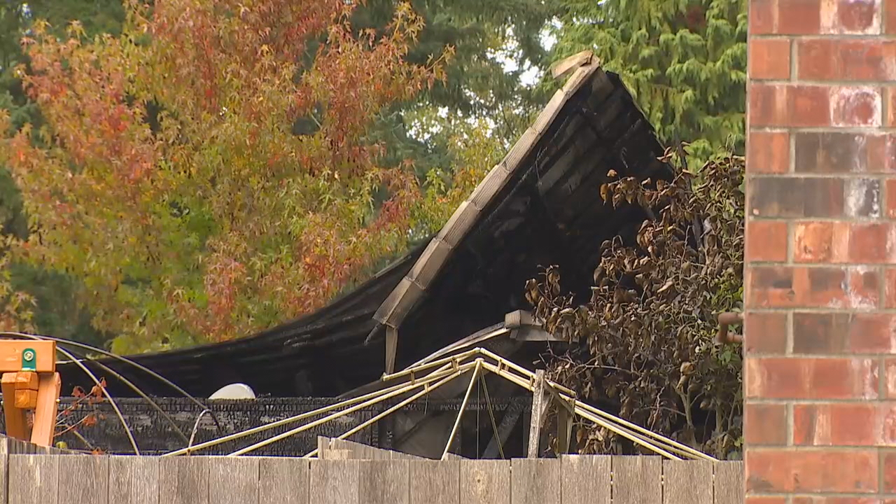 Two adults and two children died in a house fire near Port Orchard on Saturday, Oct. 14, 2017. (Photo: KOMO News)<p></p>