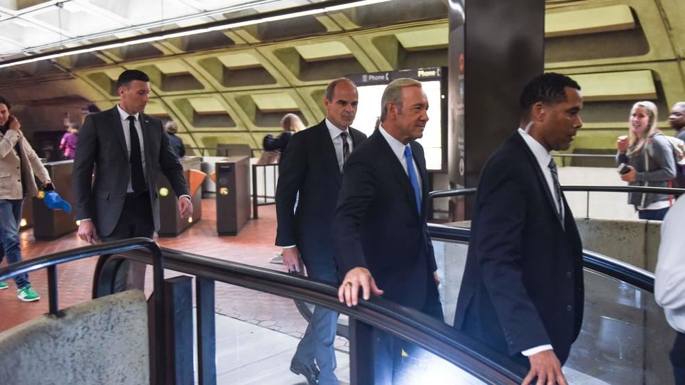 Kevin Spacey from House of Cards takes a ride on Metro, stops by White House