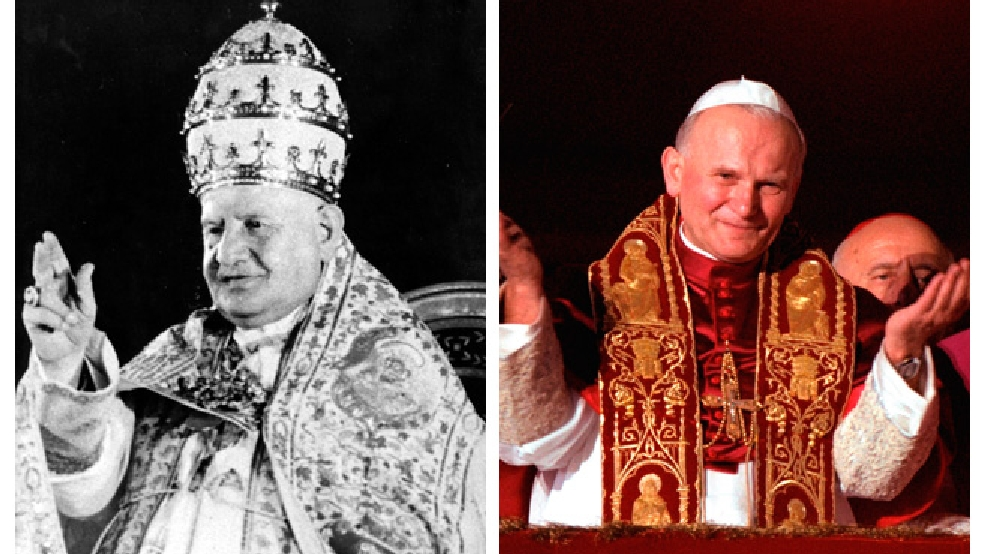 This composite image shows an undated photo of Pope John XXIII, left, and a 1978 photo of Pope John Paul II.