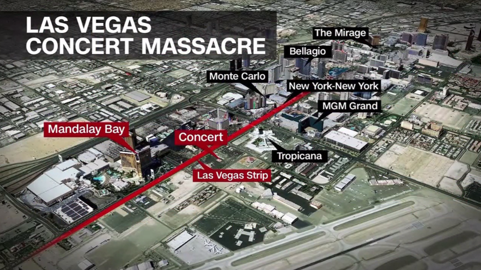 Map Las Vegas Shooting Leaves At Least 50 Dead More Than 400 Injured