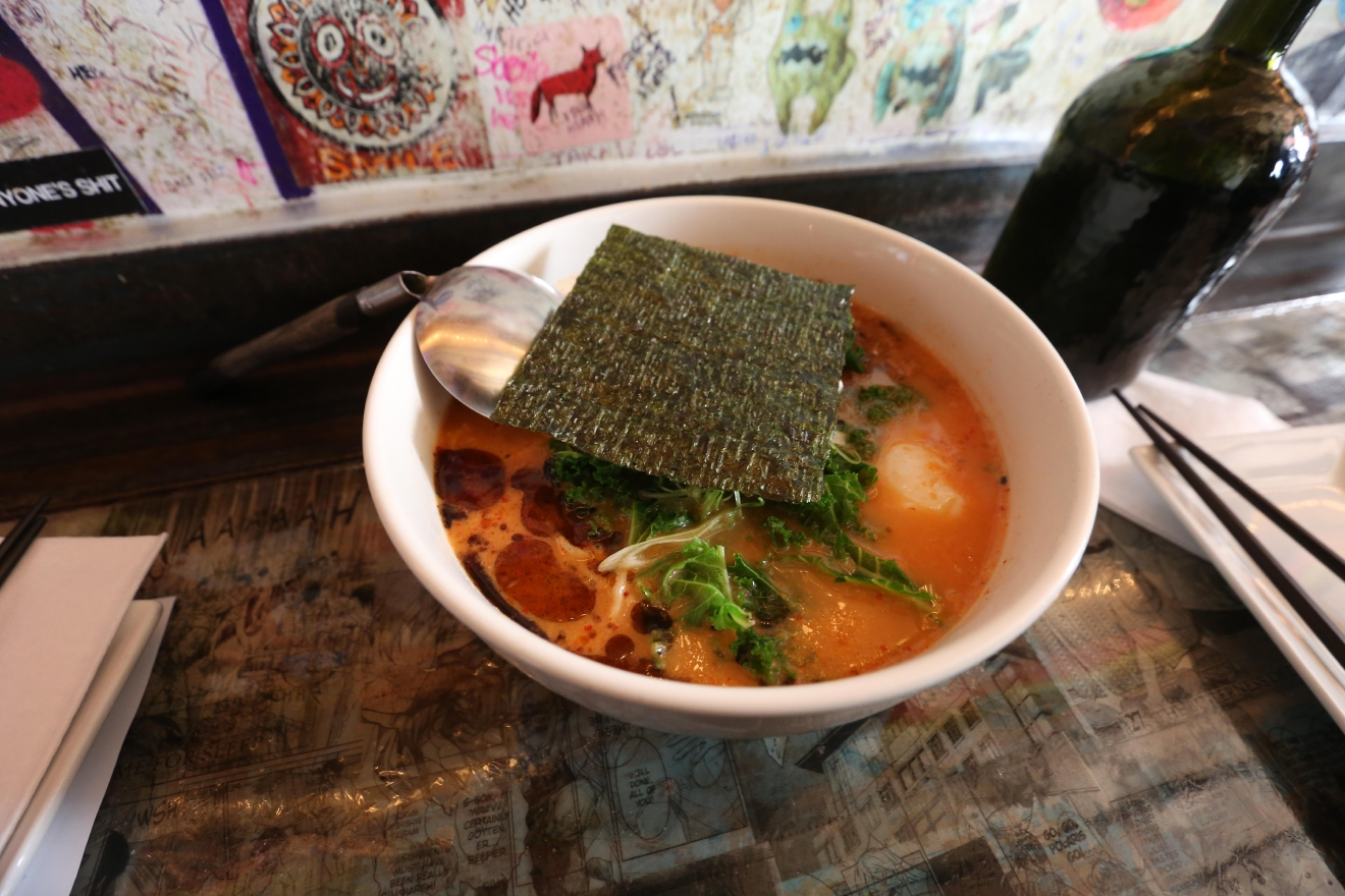 The kimchi ramen is steamy and just spicy enough to thaw even the chilliest of hearts. (Amanda Andrade-Rhoades/DC Refined)